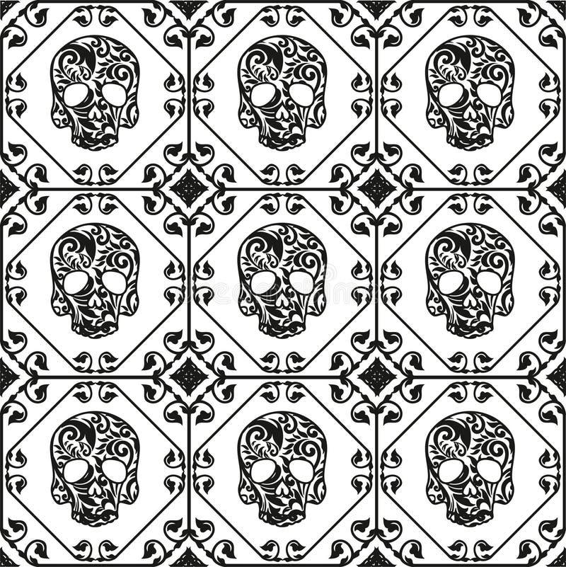 Met ornament en bloempatroon Naadloos patroon stock illustratie
