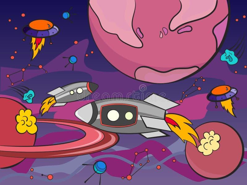 Met planeten ruimtevector voor volwassenen stock illustratie