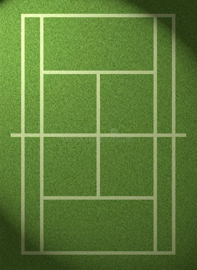 Met schijnwerpers verlicht grastennisbaan stock illustratie