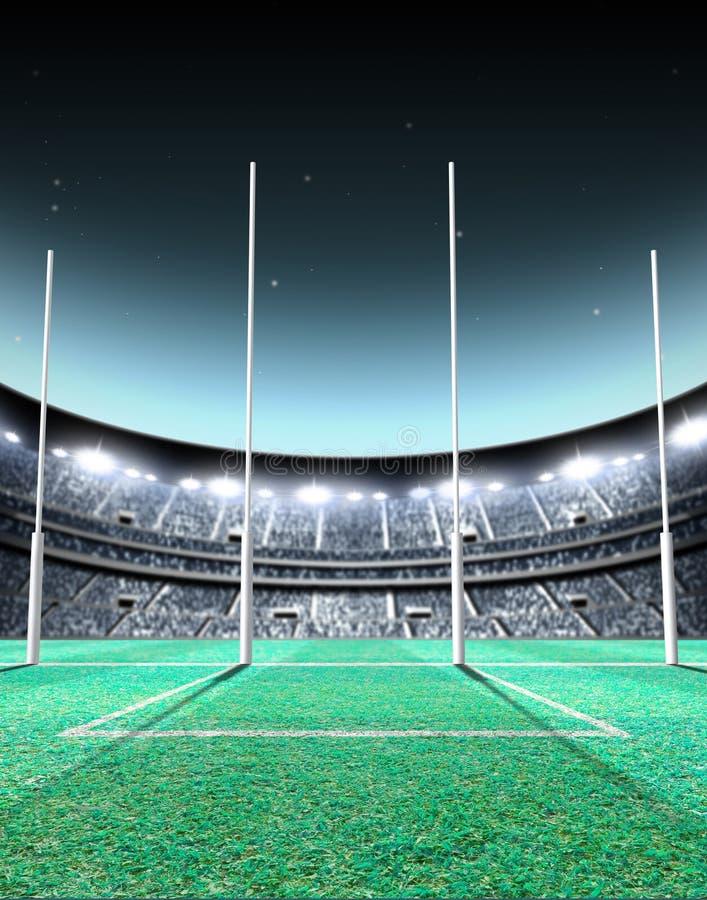 Met schijnwerpers verlichte Stadionnacht royalty-vrije illustratie