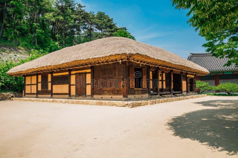 Met stro bedekkenen-dakhuis bij literair dorp van Kim u jeong in Korea stock afbeeldingen