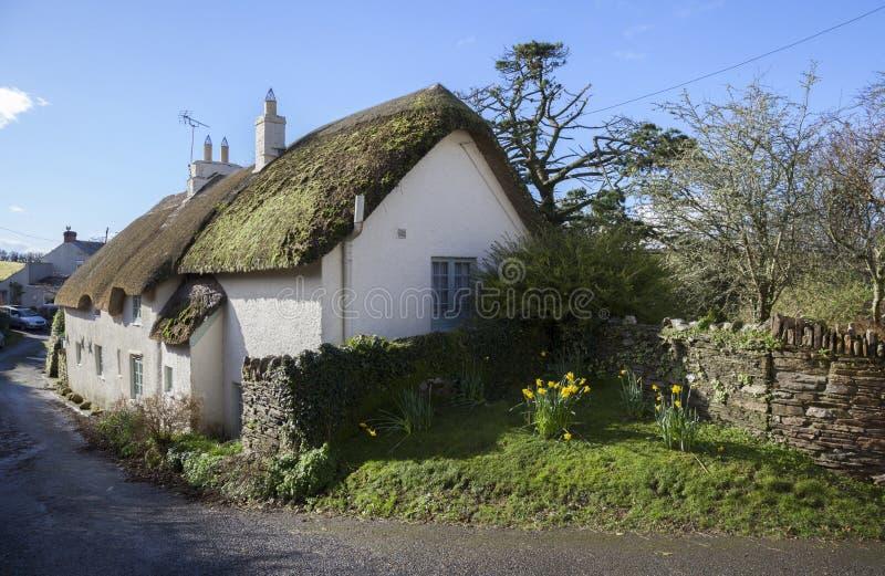 Met stro bedekt Devonshire-plattelandshuisje, Engeland royalty-vrije stock foto's