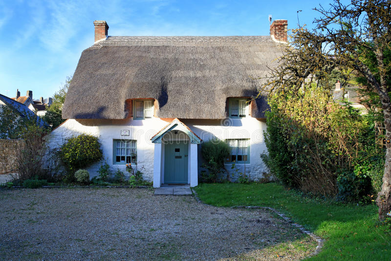 Met stro bedekt plattelandshuisje Dorset royalty-vrije stock afbeelding