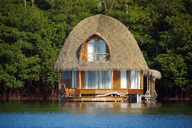 Met stro bedekte bungalow over water royalty-vrije stock afbeeldingen