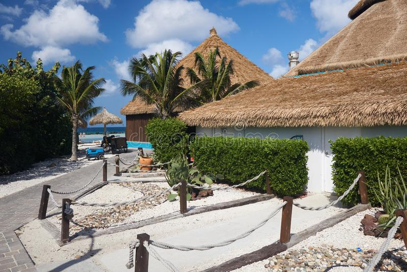 Met stro bedekte Daken in Aruba royalty-vrije stock afbeelding