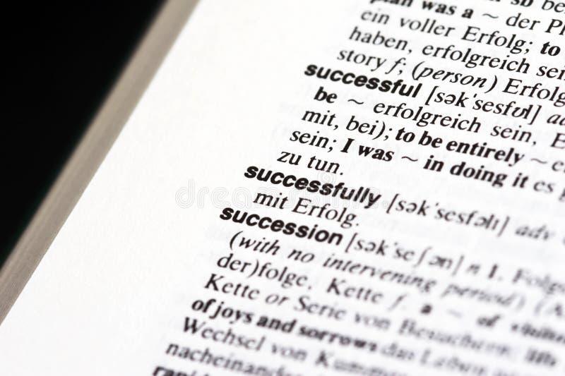 Met succes in woordenboek royalty-vrije stock afbeelding