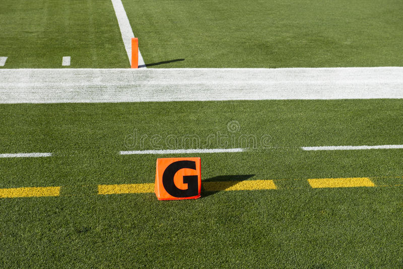 Meta americano marcador do futebol do NFL do aterragem imagens de stock royalty free