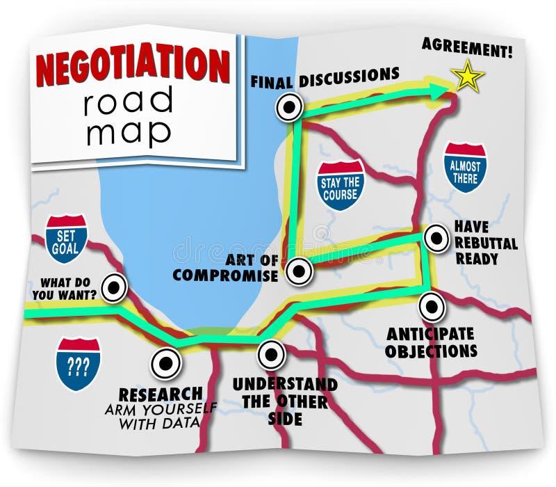 Meta común de la ventaja del acuerdo de las direcciones del mapa de camino de la negociación stock de ilustración