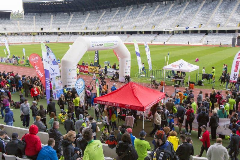 Meta da maratona de Cluj-Napoca imagem de stock