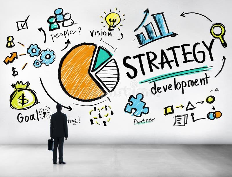 Meta del desarrollo de la estrategia que comercializa estafa del negocio del planeamiento de Vision stock de ilustración