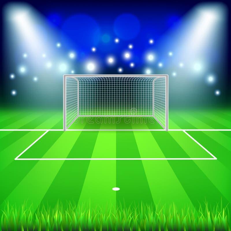 Meta del fútbol en fondo del vector del campo libre illustration