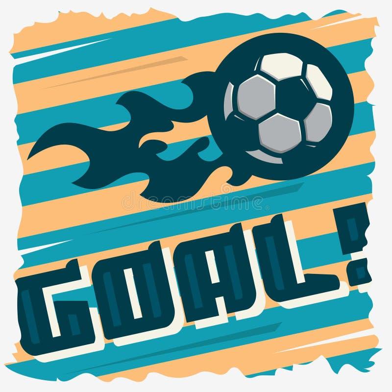 Meta del fútbol La bola en un fuego Diseño de la impresión del fútbol Fútbol libre illustration