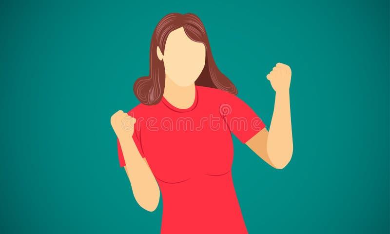 Meta del final del éxito de la mano de la demostración de la mujer en el ejemplo eps10 del vector de la blanco stock de ilustración