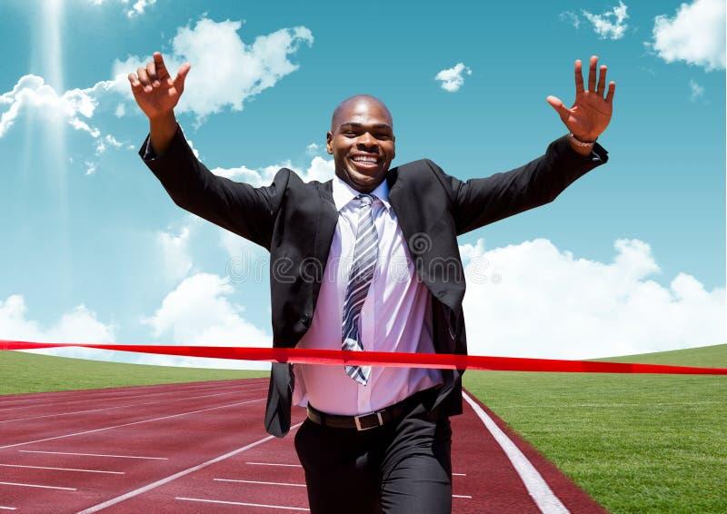 Meta do cruzamento do homem de negócios com os braços acima imagem de stock royalty free