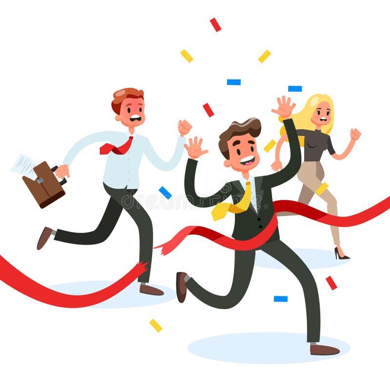 Meta roja de la travesía del ganador del hombre de negocios primero stock de ilustración