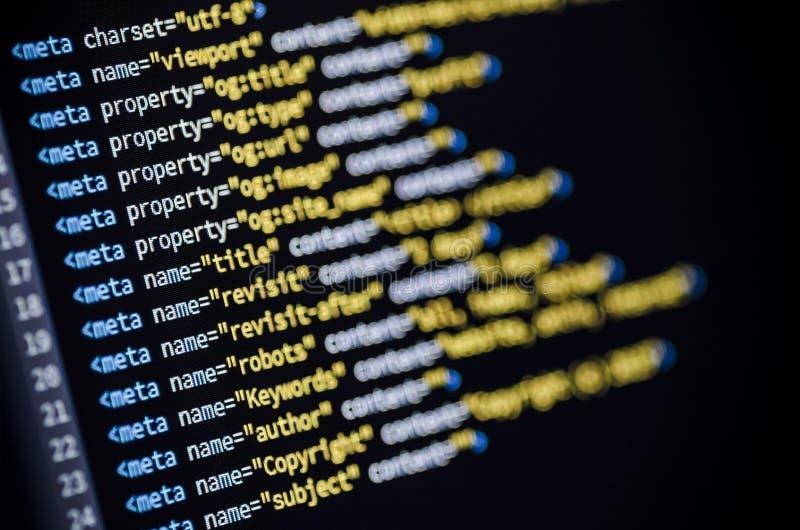 Meta--Tag-HTML-Code lizenzfreies stockfoto