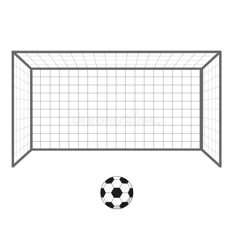 Meta y balón de fútbol del fútbol Bloquea al portero aislado en el fondo blanco stock de ilustración
