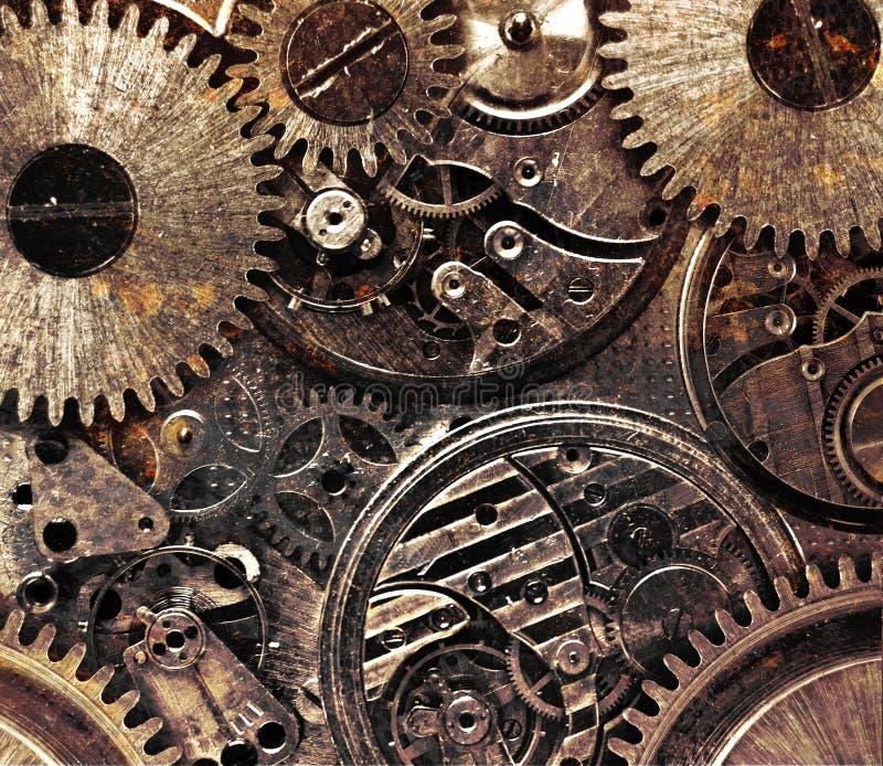Metaal abstracte achtergrond met mechanisme stock afbeelding