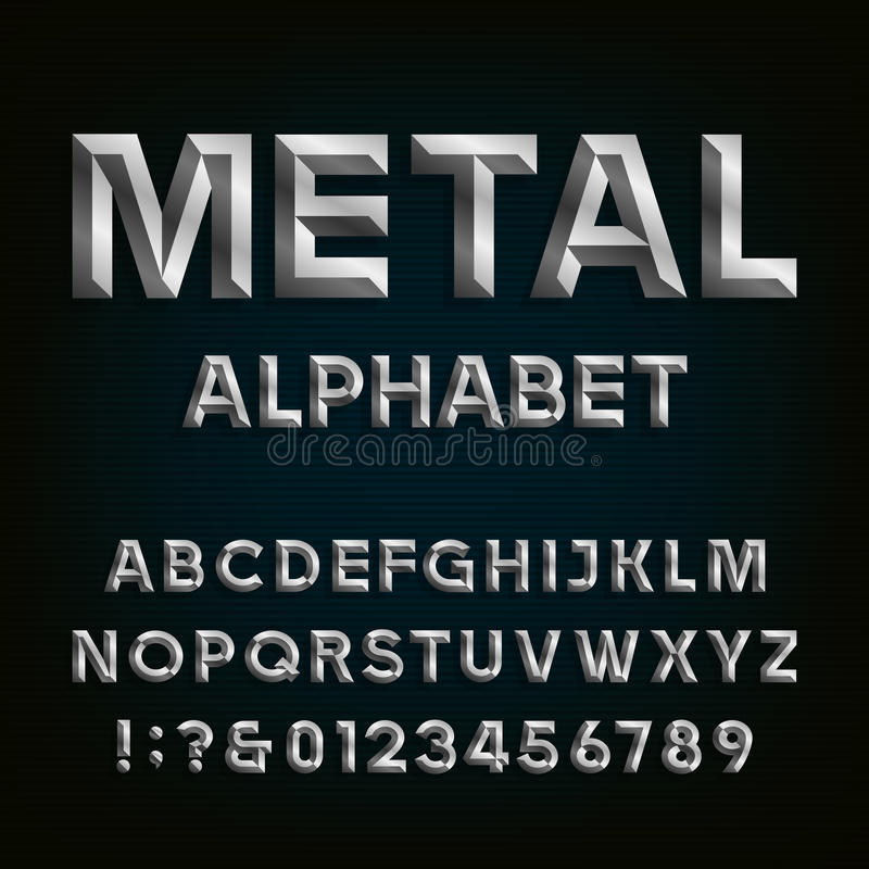 Metaal Afgeschuinde Doopvont Vector alfabet vector illustratie