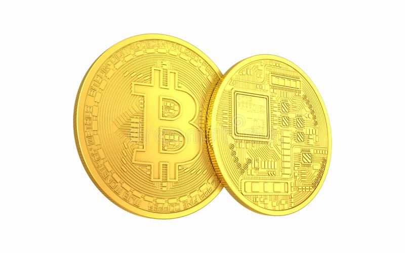 Metaal Bitcoins en Ethereum-muntstuk royalty-vrije stock foto's