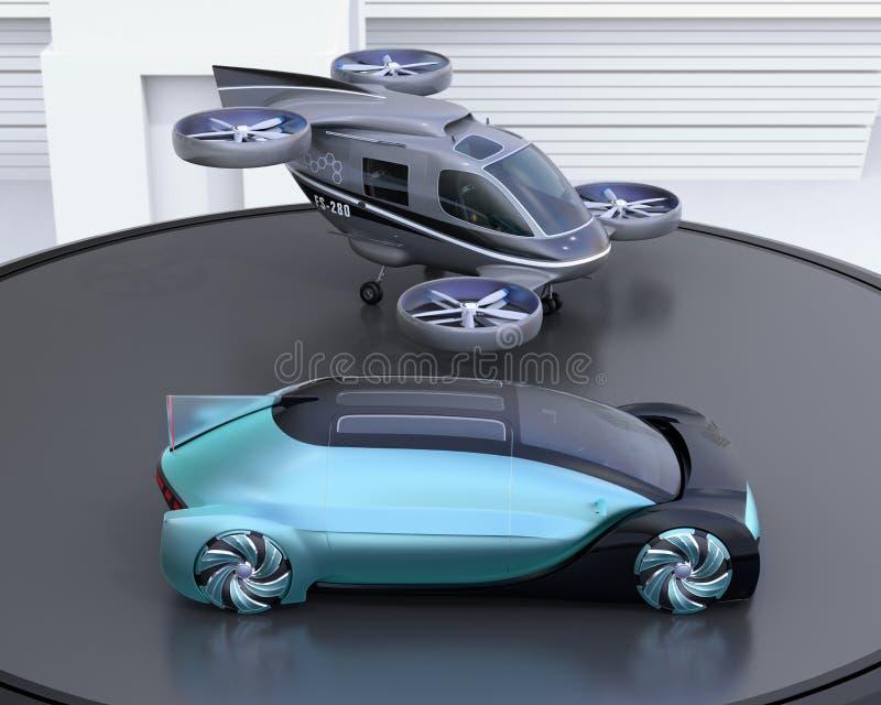 Metaal blauw autonoom elektrisch auto en passagiershommelparkeren op helihaven vector illustratie