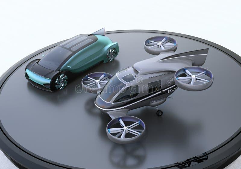 Metaal blauw autonoom elektrisch auto en passagiershommelparkeren op helihaven royalty-vrije illustratie
