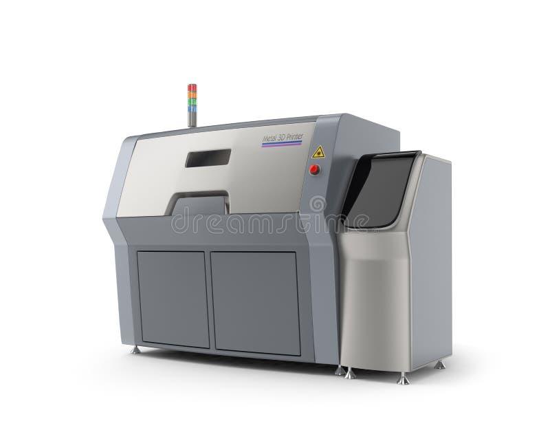 Metaal 3D printer op witte achtergrond wordt geïsoleerd die vector illustratie