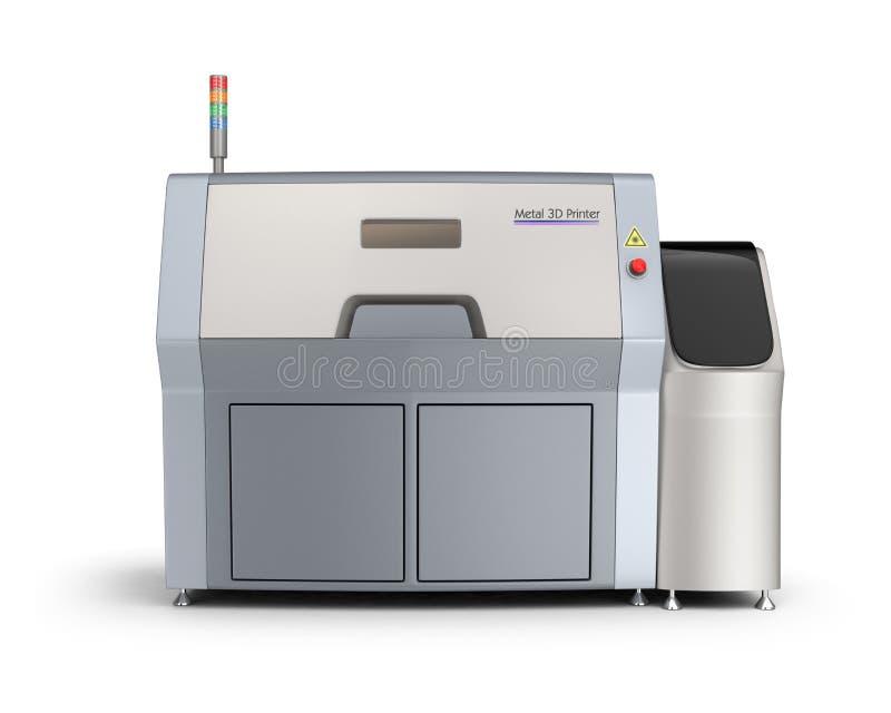 Metaal 3D printer op witte achtergrond wordt geïsoleerd die stock illustratie