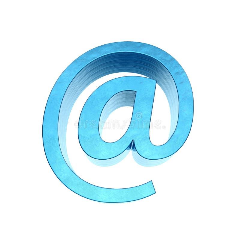 Metaal e-mailsymbool, het 3d teruggeven vector illustratie