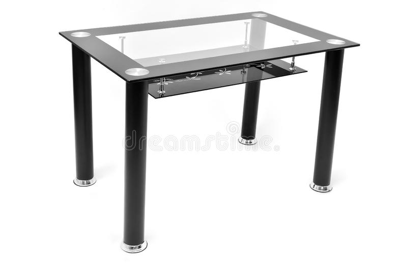 Metaal en glaseettafel voor woonkamer of keuken Moderne ontwerplijst voor eten, geïsoleerd op witte achtergrond stock foto's