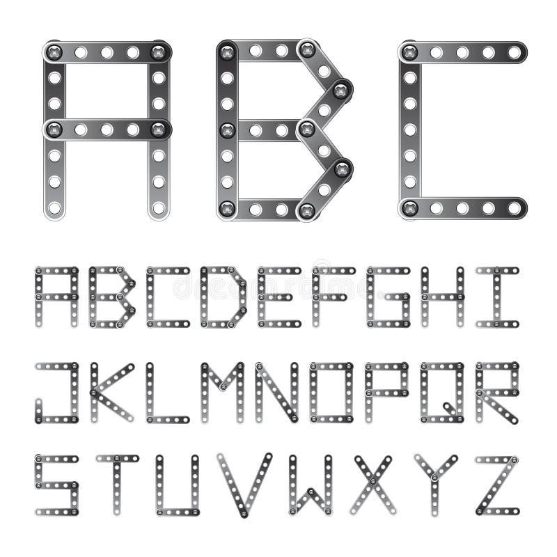 Metaal geschroefte alfabetdoopvont stock illustratie