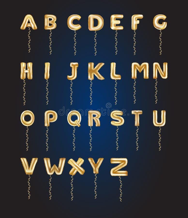 Metaal Gouden ABC-Ballons, gouden brievenalfabet Gouden typeballons voor Tekst, Brief, nieuw jaar, vakantie, verjaardag, viering royalty-vrije illustratie