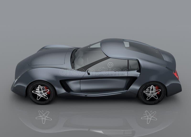 Metaal grijze die sportwagen op grijze achtergrond wordt geïsoleerd stock illustratie