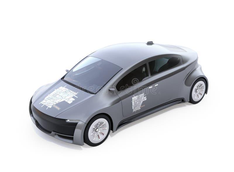 Metaal grijze elektrische auto met auto die grafisch patroon op kap en deuren delen vector illustratie