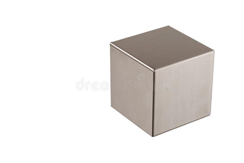 Metaal grijze kubus op een witte achtergrond royalty-vrije stock afbeeldingen