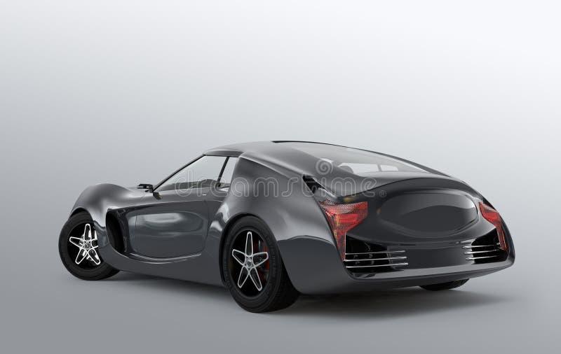 Metaal grijze sportwagen op grijze achtergrond stock illustratie