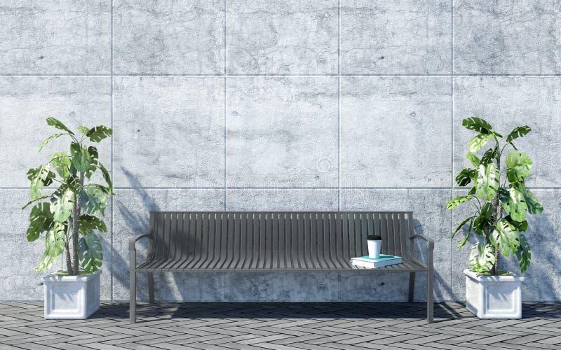 Metaal openluchtbank met decoratieve installaties op heldere concrete muurachtergrond, openluchtbuitenkant stock afbeelding