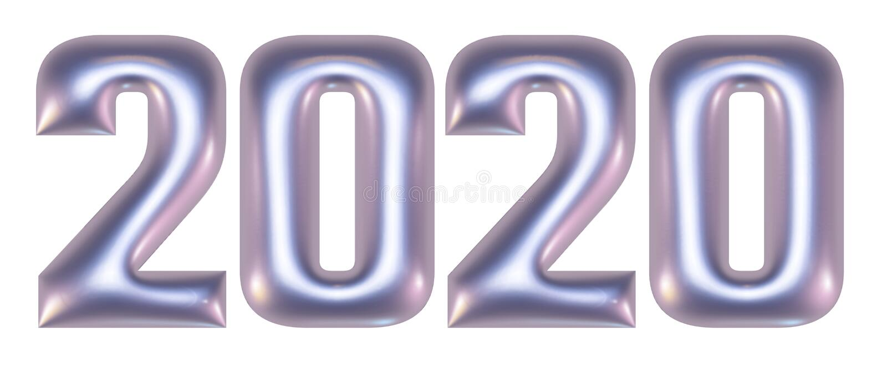 Metaal in reliëf gemaakte aantallen, alfabet, nieuw jaar 2020, 3d illustratie royalty-vrije stock afbeelding