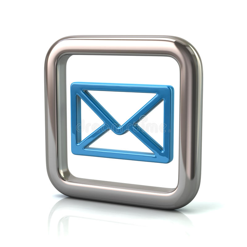 Metaal rond gemaakt vierkant kader met blauw postpictogram vector illustratie