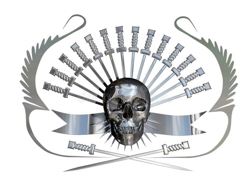 Metaal schedel en dolken vector illustratie