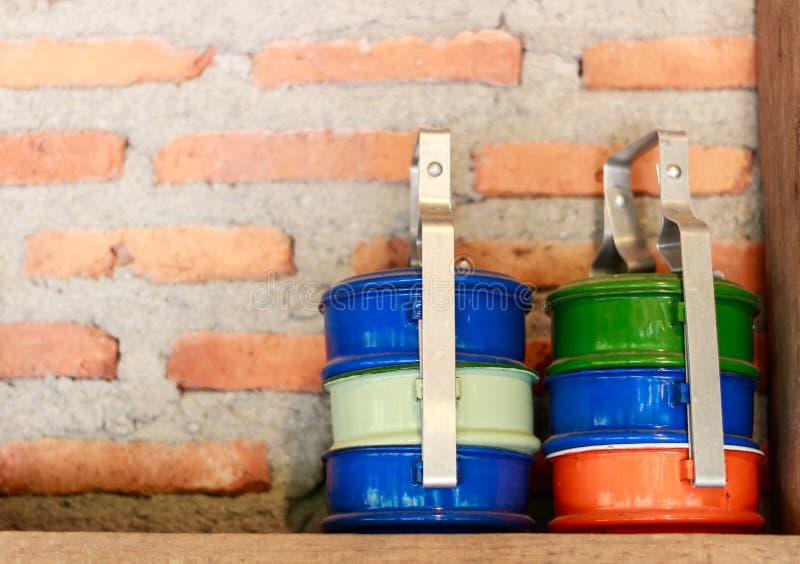 Metaal tiffin drager royalty-vrije stock afbeeldingen