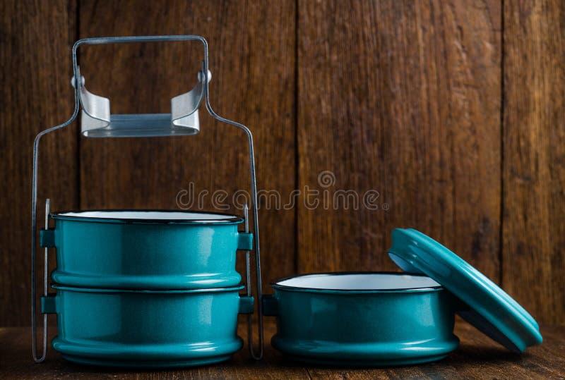 Metaal Tiffin, Thaise voedseldrager royalty-vrije stock afbeelding