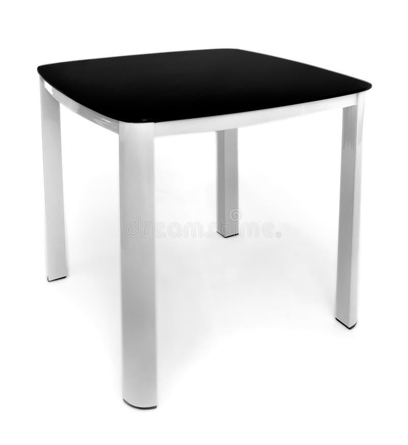 Metaal zwart-witte eettafel voor woonkamer of keuken Moderne ontwerplijst voor eten, geïsoleerd op witte achtergrond royalty-vrije stock foto