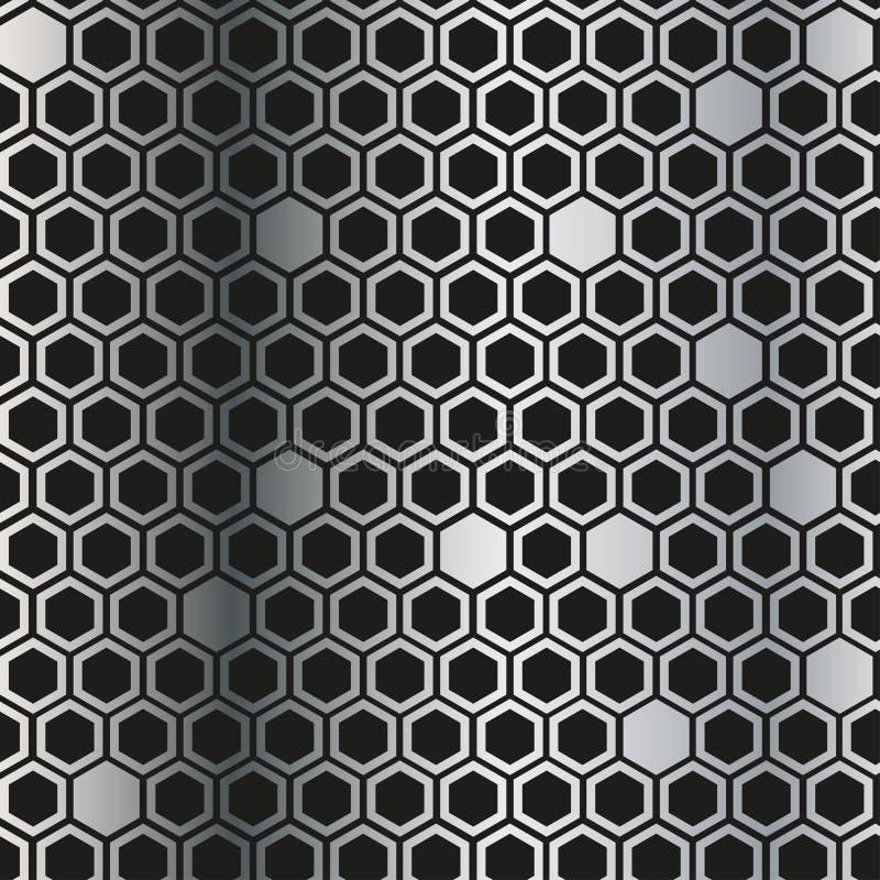 Metaalachtergrond met zwarte ruit De vectortextuur van de metaalgrill vector illustratie
