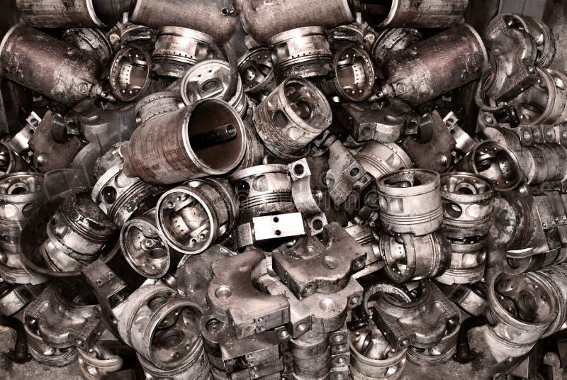 Metaalachtergrond van oude details van machines royalty-vrije stock afbeeldingen