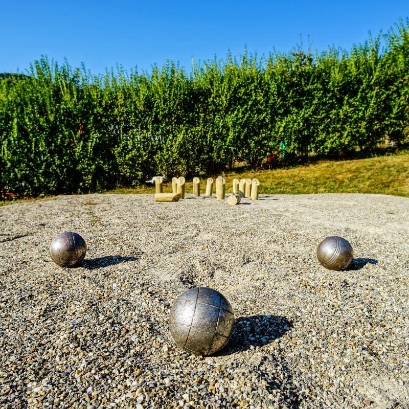 Metaalballen voor petanque ter plaatse royalty-vrije stock foto