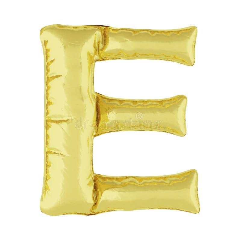 Metaalballon op een witte achtergrond Gouden brief E Kortingen, verkoop, vakantie, verjaardagen royalty-vrije illustratie