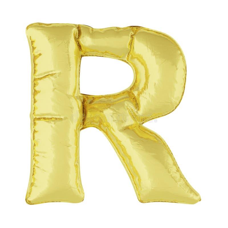 Metaalballon op een witte achtergrond Gouden brief R Kortingen, verkoop, vakantie, verjaardagen vector illustratie
