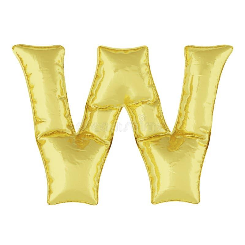 Metaalballon op een witte achtergrond Gouden brief W Kortingen, verkoop, vakantie, verjaardagen vector illustratie