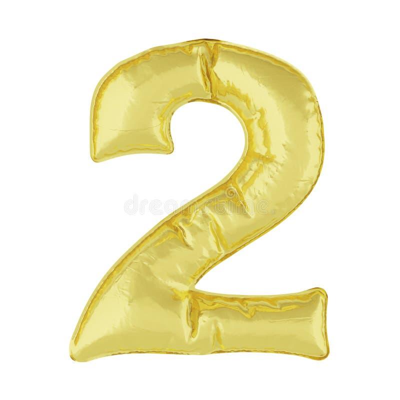 Metaalballon op een witte achtergrond Gouden nummer acht 2 Kortingen, verkoop, vakantie, verjaardagen stock illustratie
